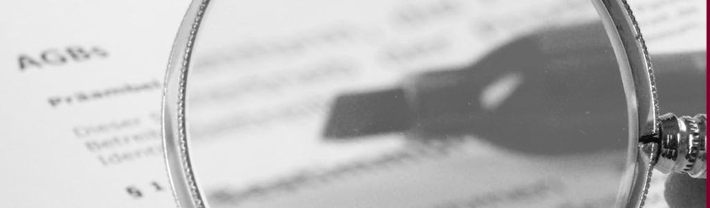 Lupe auf einem AGB-Text